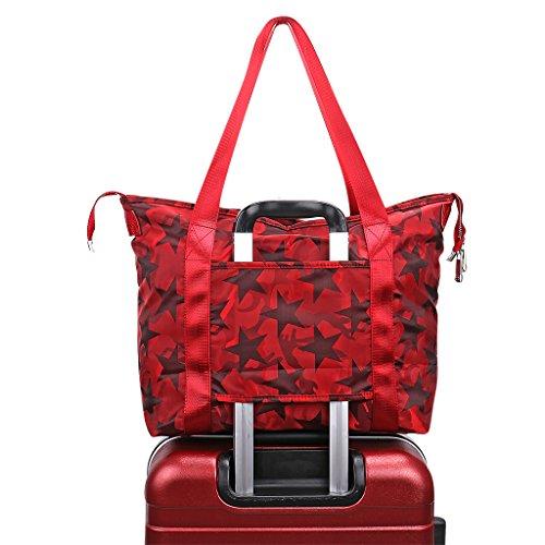 - Women's Travel Tote Shoulder Handbag,Super Polyester Fibre Extra Large Lightweight Water Resistant Camouflage - Red