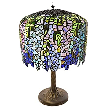 30 h stained glass tiffany inspired grand wisteria table lamp with 30 h stained glass tiffany inspired grand wisteria table lamp with tree trunk base mozeypictures Image collections