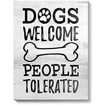 funny quote dogs and people on rustic wood framed canvas print