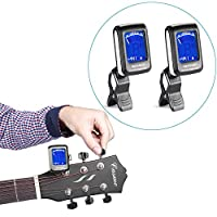 Neewer® 2-Pack Chromatic Clip-on Tuners with a 360 Degree Rotational LCD Display for Guitar, Chromatic, Bass, Violin, Ukulele--Black