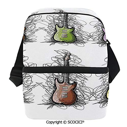 SCOCICI Cooler Bag Sketchy Lined Colored Design Guitar Collage for Teens Rocker Song Lovers Image Insulated Lunch Bag for Men Women for Kayak,Beach,Travel,Work,Picnic,Grocery