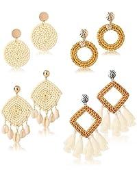 LOYLLOOK 4Pairs Rattan Earrings Bohemian Tassel Straw Earring Shell Square Statement Earring Handmade Wicker Braid Hoop Drop Dangle Earrings for Women Girls
