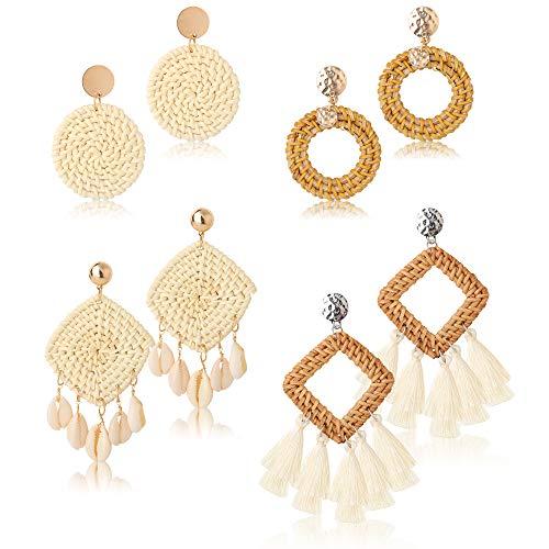 LOYALLOOK 4Pairs Rattan Earrings Bohemian Tassel Straw Earring Shell Square Statement Earring Handmade Wicker Braid Boho Drop Dangle Earrings for Women ()