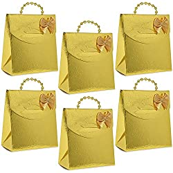 50 Mini Gold Party Favor Gift Bags with Gold Pearl Handles Boxes for Candy Bag Cookie Treat for Holiday Wedding Bridal Shower Birthday Party Favors