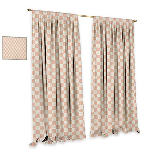 Geometric Patterned Drape for Glass Door Pale Salmon Colored Chess Table Like Modern Pink Color Squares Artwork Print Decor Curtains by W120 x L96 Peach Cream