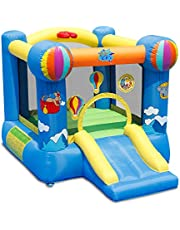 ACTION AIR Bounce House, 9x7 Foot Inflatable Castle with Air Blower, Jumping Castle with Slide, for Outdoor and Indoor, Durable Sewn with Extra Thick Material, Idea for Kids (9070N)