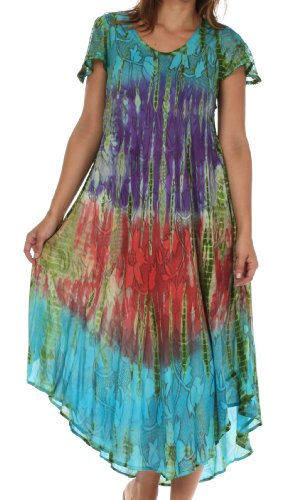 Sakkas 20831 Mika Ombre Floral Caftan Dress - Turquoise - One (Turquoise Floral Skirt)