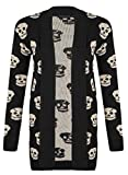 Miss High Street Skull Print Open Knitted Cardigsn (XL (US14-16) (UK16-18), Black)