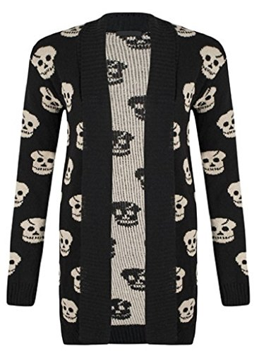 Miss High Street SugerDiva Skull Print Open Knitted Cardigan