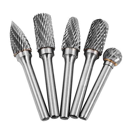 5Pcs 12mm Head Tungsten Carbide Rotary Point Burr Die Grinder Bit 6mm Shank Kit Milling Cutter -