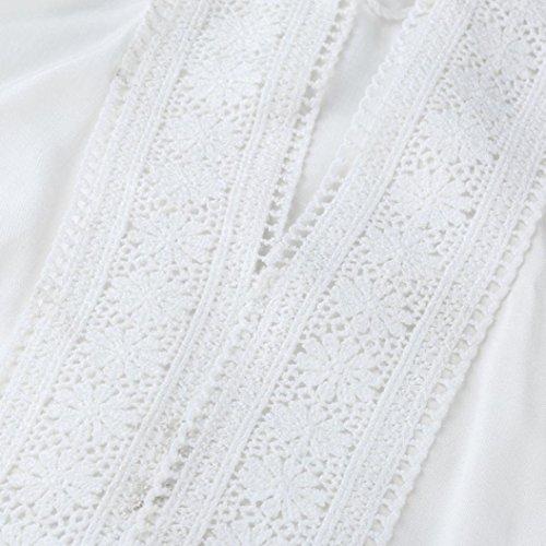 Vemow Femmes Dames Filles Mer D'été Hauts De Bikini Couvre Maille Coton Dentelle Longue Jusqu'à Pompons De Protection Solaire Plage Nager Robe Sarrau Sexy Maillot De Bain Beachwear Polyester Noir Blanc Blanc