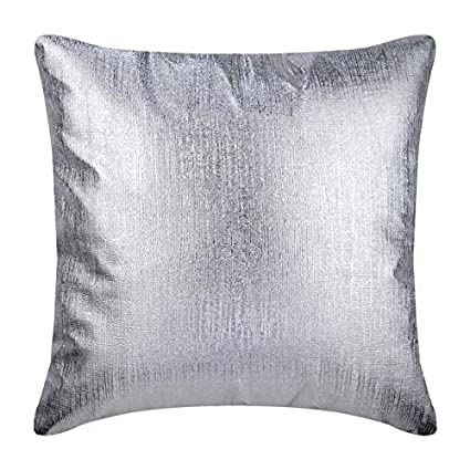 Amazon.com: Silver Pillows Cover, Metallic Silver Solid Color Club ...