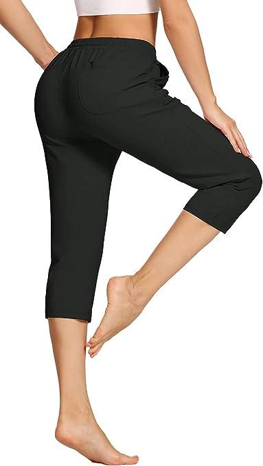 VEOBIKE Womens Active Running Capri Pants Cotton Lightweight Loose Lounge Yoga Crop Pants Workout Sweatpants Pockets