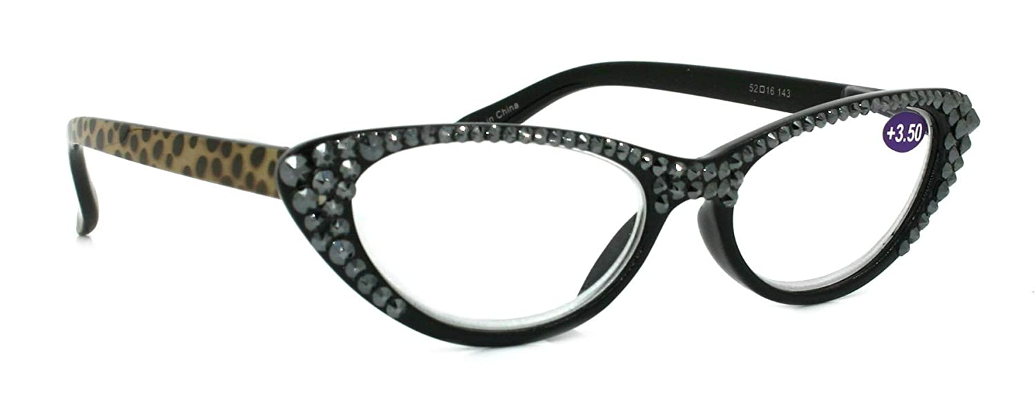 The Naughty CAT EYE, Full Top Hematite SWAROVSKI Crystals Women Reading Glasses +1.25 +1.50 +1.75 +2.00 +2.25 +2.50 +2.75 +3.00 +3.50 +4.00 Black Leopard