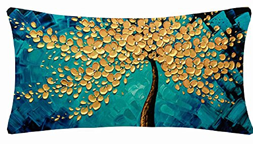 QINU KEONU Oil Painting Black Large Tree and Flower Birds Cotton Linen Throw Pillow Case Cushion Cover Home Sofa Decorative 18 X 18 Inch (#02)