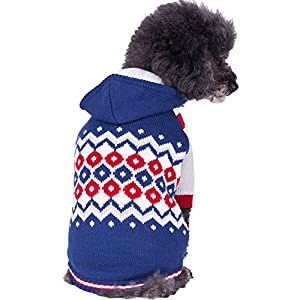 "Blueberry Pet Warm Sherpa Fleece Lined Embrace Cold Winter Jacket Unisex Hoodie Dog Sweater, Back Length 12"", Pack of 1 Clothes for Dogs"