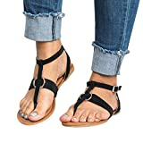 Photno Women's Ladies Summer Buckle Flat Flip Flops Slippers Beach Sandals Roman Shoes Black