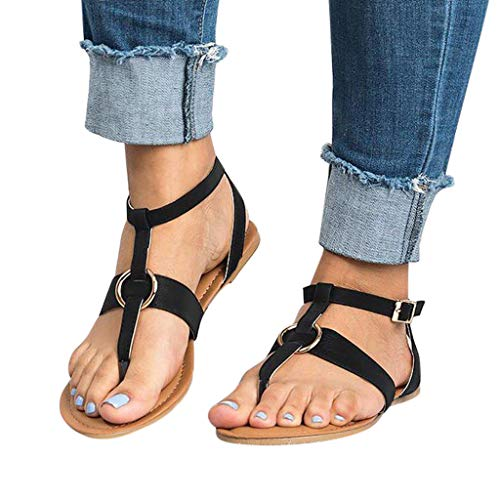 Cenglings Women's Flip Flops Buckle Flat Sandals Beach Slippers Ankle Strap Slip On Roman Shoes Black