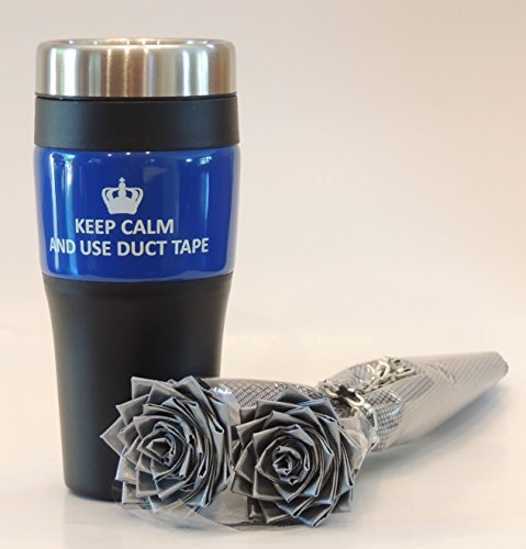 Blue Travel Mug and 2 Premium Silver Duct Tape Flower Gift Set. Unique Gift Set for HIM / HER! (Valentine Delivery For Him)