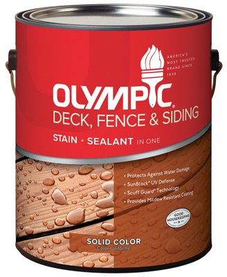 OLYMPIC/PPG ARCHITECTURAL FIN 53206A/01 53206A/01 Gallon, Exterior, Latex, Solid Color, Cedar, Deck, Fence & Siding Stain (Latex Solid Color Deck Stain)