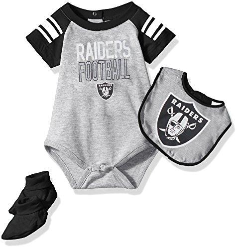 Outerstuff NFL Infant Blitz Onesie, Bib and Bootie Set-Heather Grey-12 Months, Oakland Raiders