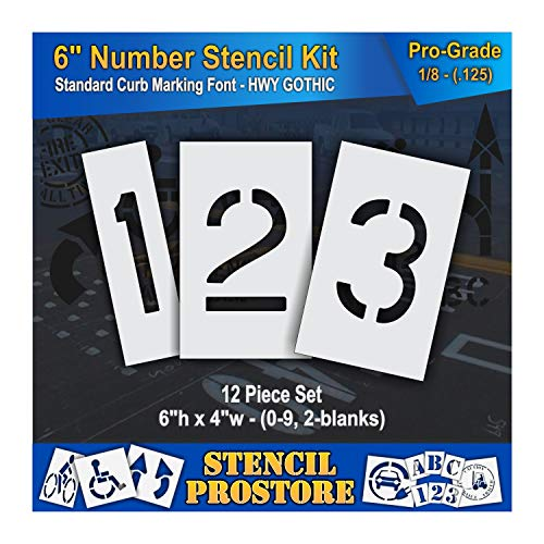 Curb and Median Stencils - 6 inch Number KIT Stencil Set - (12 Piece) - 6
