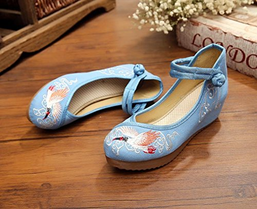 WXT Zapatos bordados, lino, lenguado del tendón, estilo étnico, zapatos femeninos aumentados, manera, cómodo, ocasional Light Blue