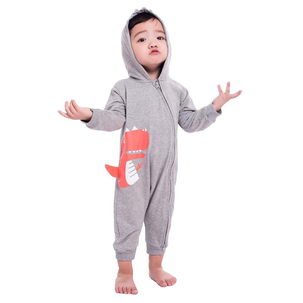 Teeker Unisex Hoodie Romper Jumpsuit Cotton Onesies Long Sleeve Baby Body Suit Dinosaur Print