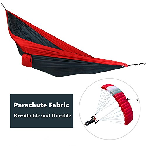 Camping Hammock , Awakelion Lightweight Parachute Portable Hammocks for Hiking Travel Backpacking Beach Yard . Gear Includes Nylon Straps & Steel Carabiners (Red+Black, Standard)