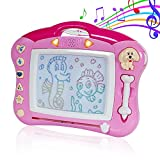 SGILE Magnetic Drawing Board, Musical Color Magna Doodle Writing Painting Board with Light and Music, Non-Toxic Erasable Sketching Sketch Pad for Toddlers Kids, Pink
