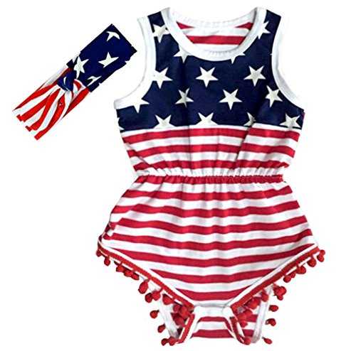 Anbaby Gilrs Bronzing Dot Romper Climbing Clothes with A Bow Headband (6-12Months, Stars Stripes)