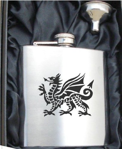 Welsh Dragon 6oz Hip Flask Personalised Welsh Gift Boxed FREE ENGRAVING 391