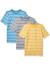 Boys 3 Pack Stripe Tees: Aqua Tee, Blue Tee, Orange Tee