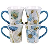 Certified International The Greenhouse Poppies Mugs (Set of 4), 14 oz, Multicolor