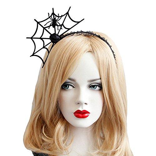 Halloween Cosplay Spider Hair Hoop-New Trendy Spiders Web Headband Headdress Hallowmas Party Gift Urchart (Black #1) ()