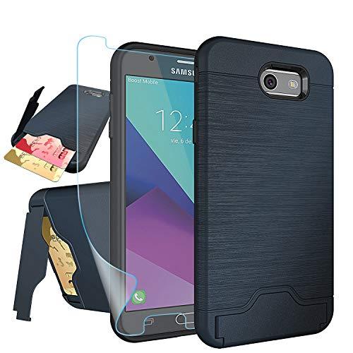 Galaxy J7 V 2017/ J7 Perx/J7 Prime/J7 Sky Pro/Halo Case with HD Screen Protector,NiuBox[Card Slot Wallet][Kickstand] Full Body Shock Absorption Protective Phone Case for Samsung J7V 2017-Navy Blue