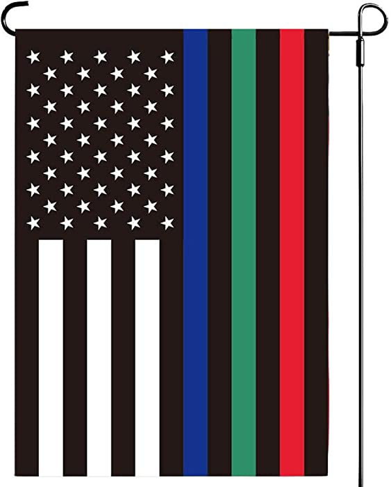 UTSANG Thin Red Blue Green Line American Garden Flag 12.5 x 18 Inch- Support Police Military Fire Firefighter USA Double Sided Yard Flags