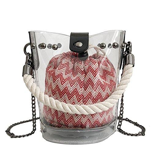 Merryhe Transparent Cube Bag Sets Womens Pvc Summer Messenger Bags Handbags Metal Chain Shoulder Strap Red