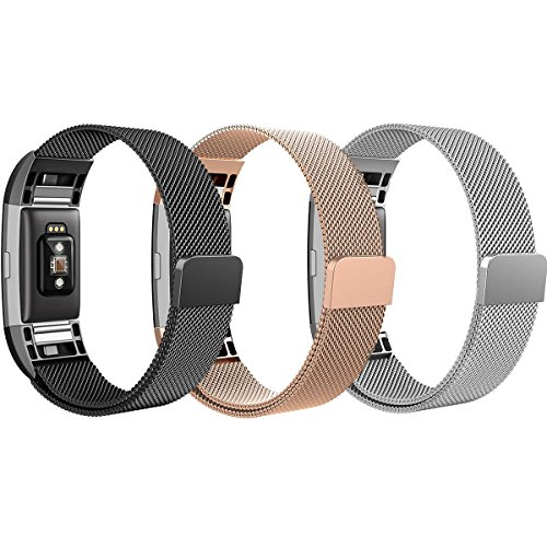 Fitbit Charge 2 Bands, SailFar 3 Pack Magnetic Clasp Mesh Loop Milanese Stainless Steel Metal Bracelet Strap/Watch Band for Fitbit Charge 2,Small, Men/Women, Rose Gold, Silver, Black - Mens Watches With Metal Mesh Band