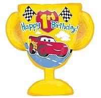 "Disney Cars Happy 1st Birthday 26"" mylar foil Balloon Trophy Party Supplies Boy"