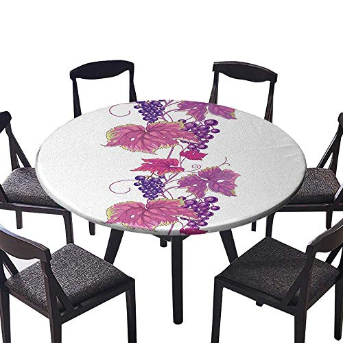 (The Round Table Cloth Twiggy Branch with Berries Leaves Plants Trees Wild Habitat Fuchsia Purple for Birthday Party, Graduation Party 35.5
