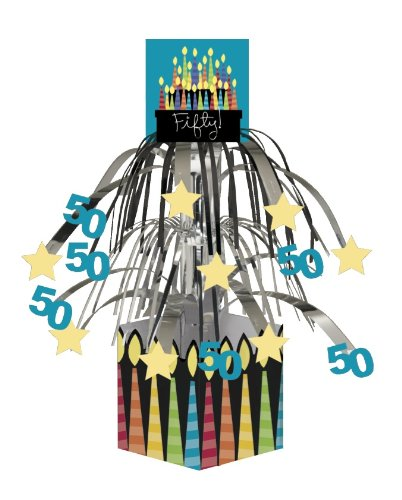 Creative Converting Party Decoration Metallic Foil Cascading Centerpiece, Great Birthday 50th