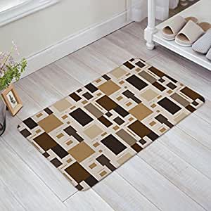 Non Slip Backing Doormat geometry Print Indoor/Front Door/Bathroom Entrance Mat Rugs 16X24 inch by T&H Home