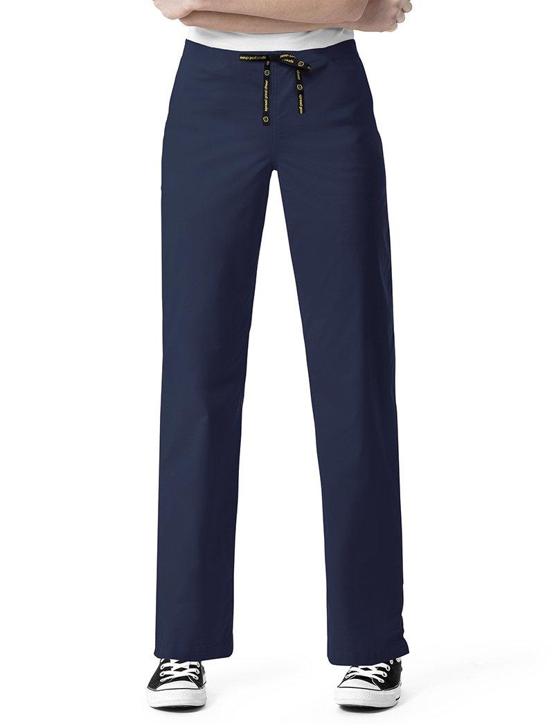 WonderWink I Love Women's Straight Drawstring Scrub Pant Medium Petite Navy
