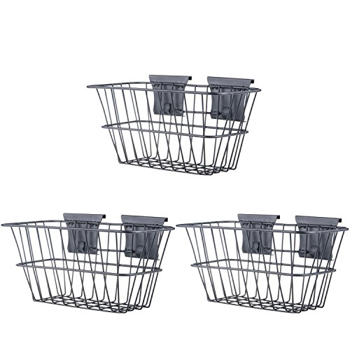 YourTools Wire Basket for Trackwall Garage Storage System, 10.8-Inches x 6.5-Inches x 6.5-Inches, 3-Pack