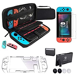 IPNOW Accessories Case for Switch, 2 pcs Ultra-thin Tempered Glass screen protector, Dockable Protective Cover and 4 Thumb Stick Caps, High Quality EVA NS Carrying Case with 20 Game Cartridge