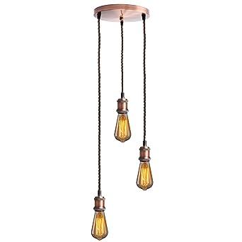 KINGSO E27 Lampenfassung mit drei Fassungen Edison Pendelleuchte ...