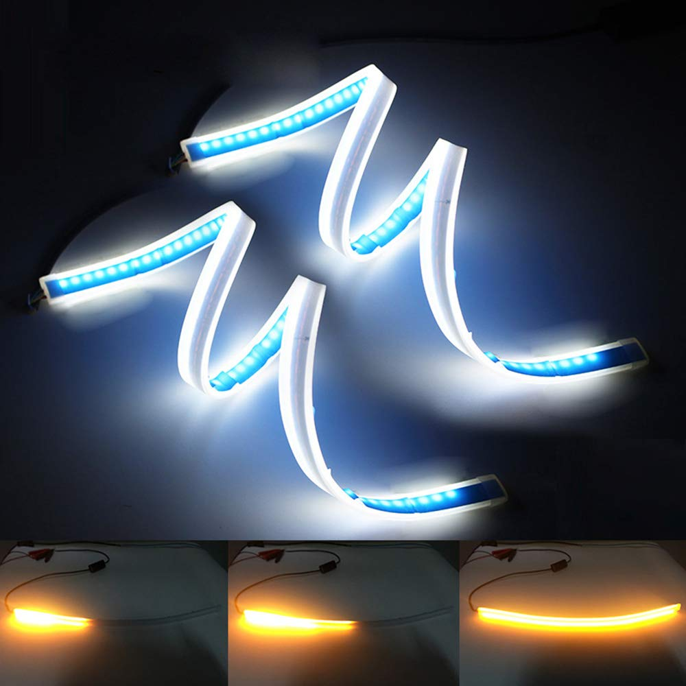 XINFOK 60cm White Amber Switchback Waterproof Flexible LED Strip Daytime Running Lights Car LED DRL Daylight Flowing Turn Signal Light Ultra thin Led Headlight