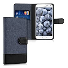 kwmobile Wallet case canvas cover for Samsung Galaxy S5 / S5 Neo / S5 LTE+ / S5 Duos - Flip case with card slot and stand in dark blue black