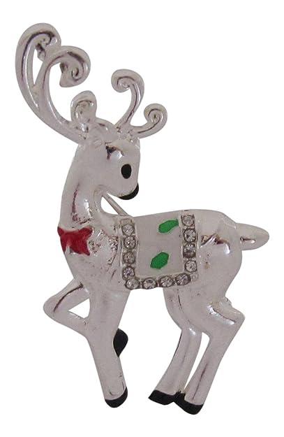 Broche Boutique Bambi Navidad Broche Chapado En Plata Reno Ciervo - Ciervo-navidad